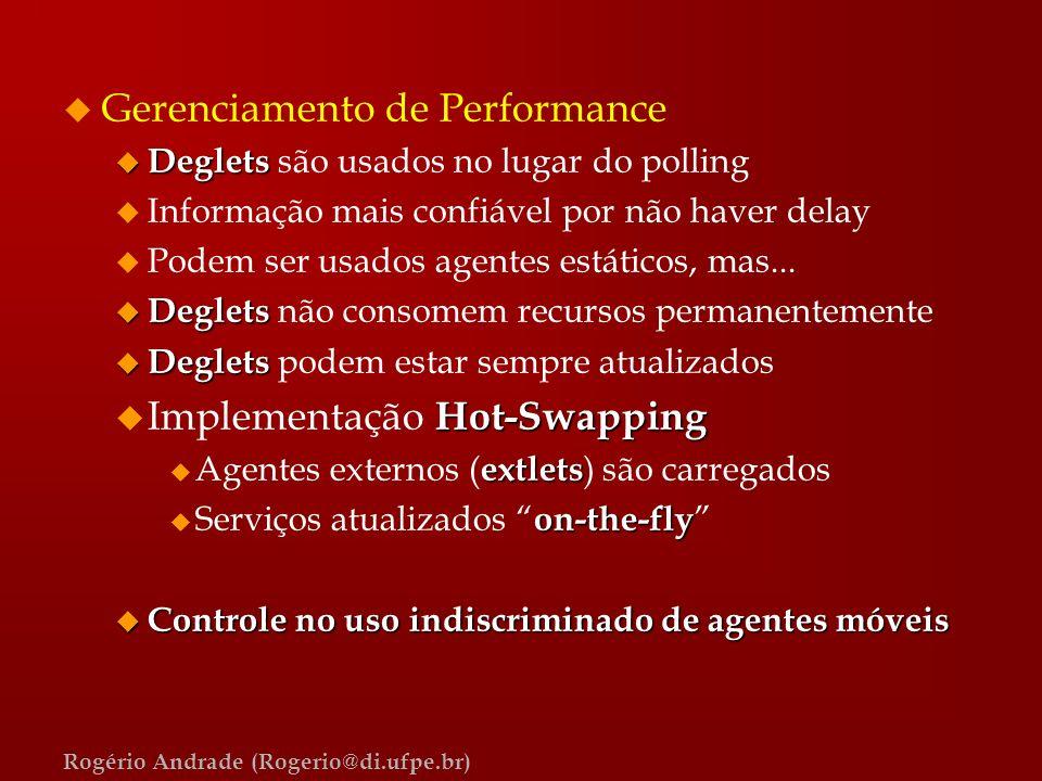 Rogério Andrade (Rogerio@di.ufpe.br) u Gerenciamento de Performance u Deglets u Deglets são usados no lugar do polling u Informação mais confiável por