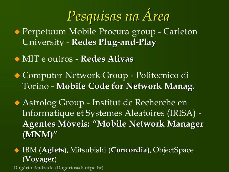Rogério Andrade (Rogerio@di.ufpe.br) Pesquisas na Área Redes Plug-and-Play u Perpetuum Mobile Procura group - Carleton University - Redes Plug-and-Pla