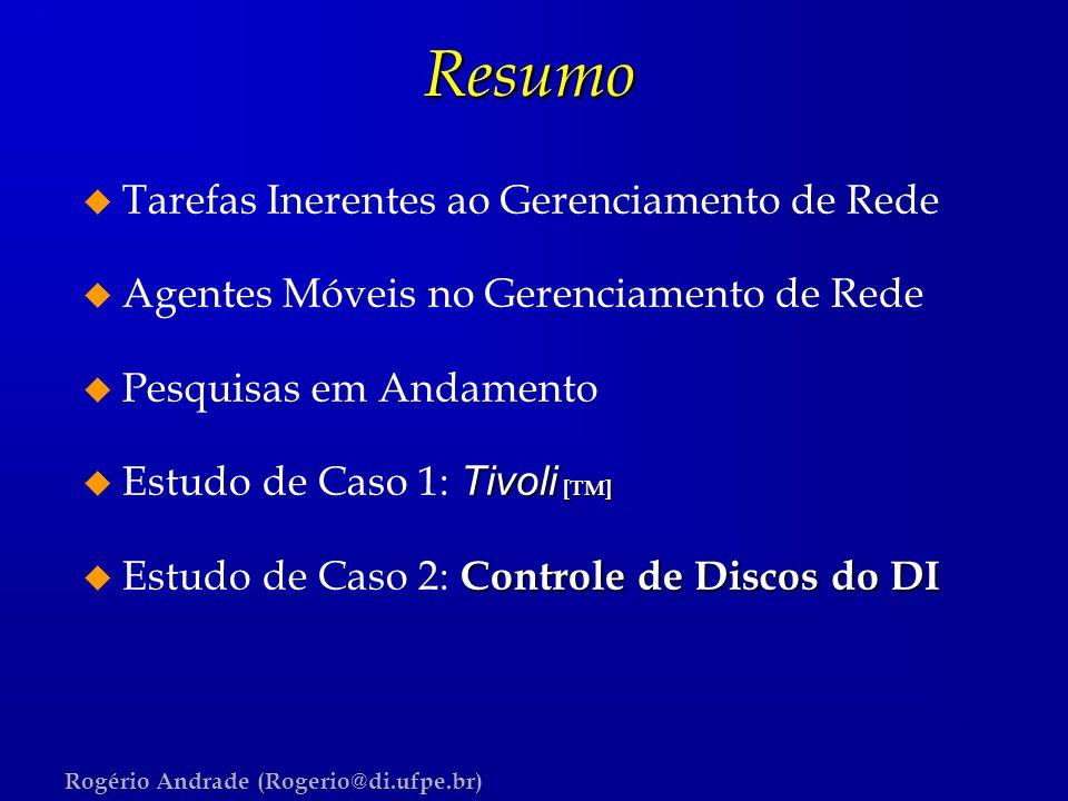 Rogério Andrade (Rogerio@di.ufpe.br)Resumo u Tarefas Inerentes ao Gerenciamento de Rede u Agentes Móveis no Gerenciamento de Rede u Pesquisas em Andam