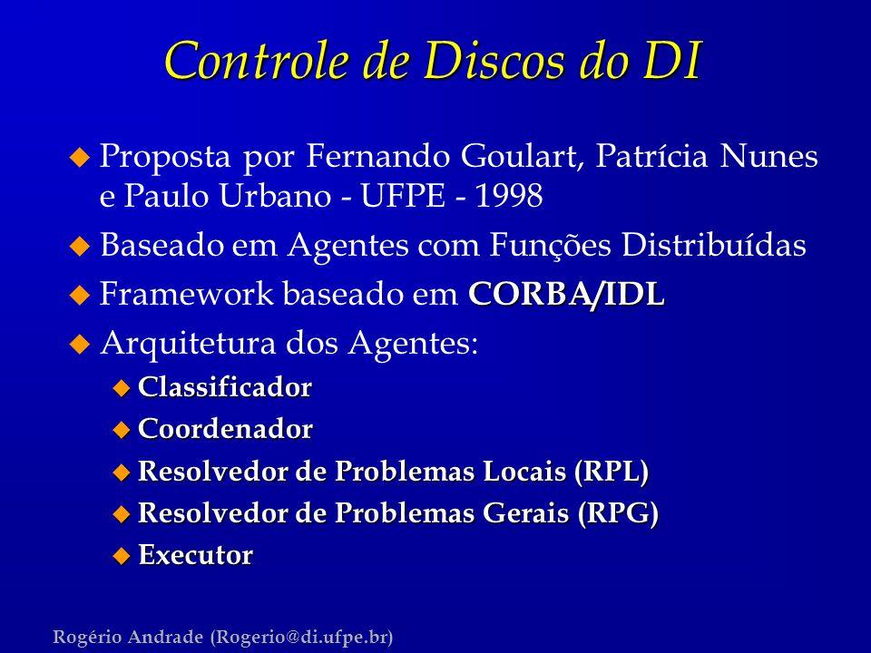 Rogério Andrade (Rogerio@di.ufpe.br) Controle de Discos do DI u Proposta por Fernando Goulart, Patrícia Nunes e Paulo Urbano - UFPE - 1998 u Baseado e