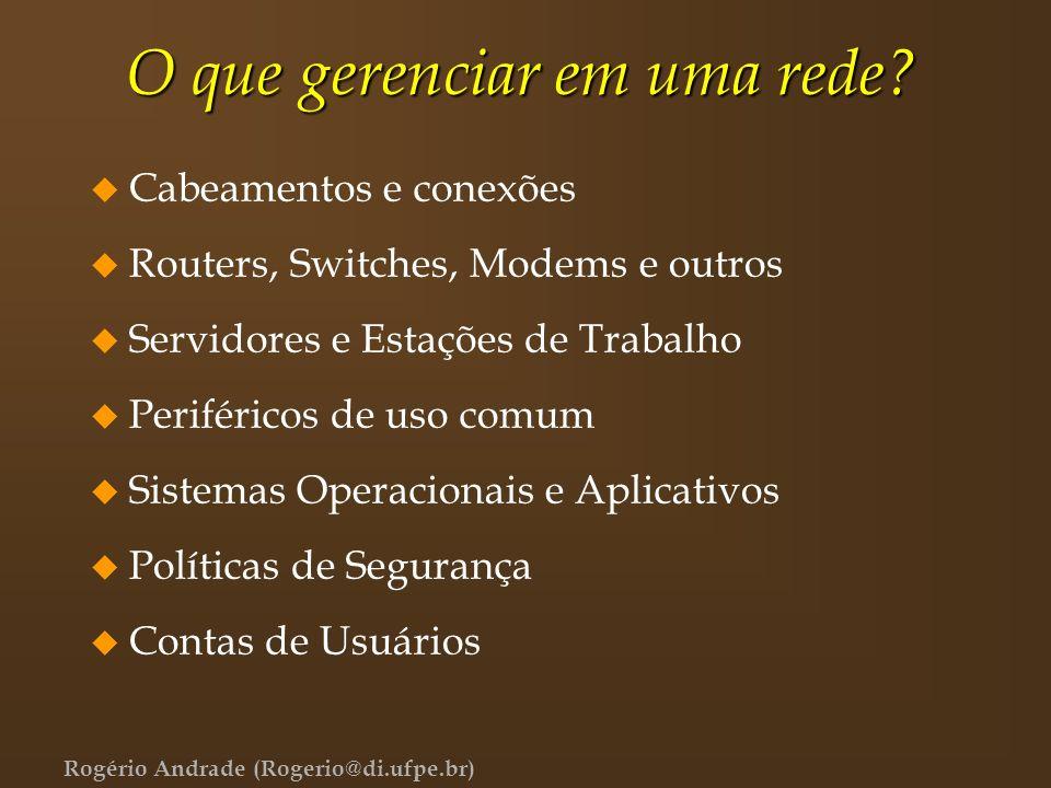 Rogério Andrade (Rogerio@di.ufpe.br) O que gerenciar em uma rede? u Cabeamentos e conexões u Routers, Switches, Modems e outros u Servidores e Estaçõe