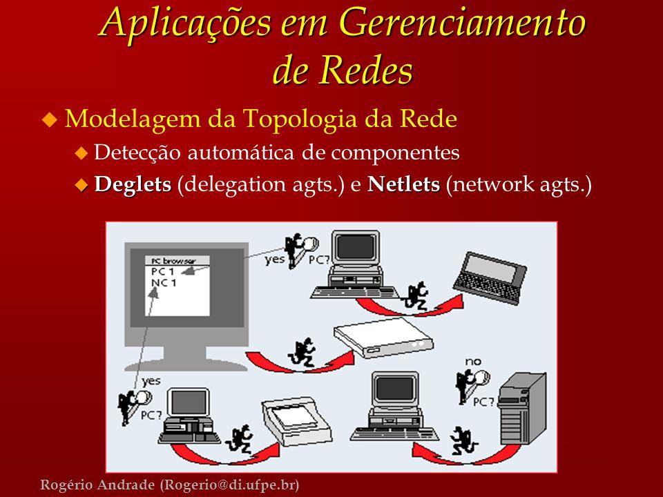 Rogério Andrade (Rogerio@di.ufpe.br) Aplicações em Gerenciamento de Redes u Modelagem da Topologia da Rede u Detecção automática de componentes u Degl