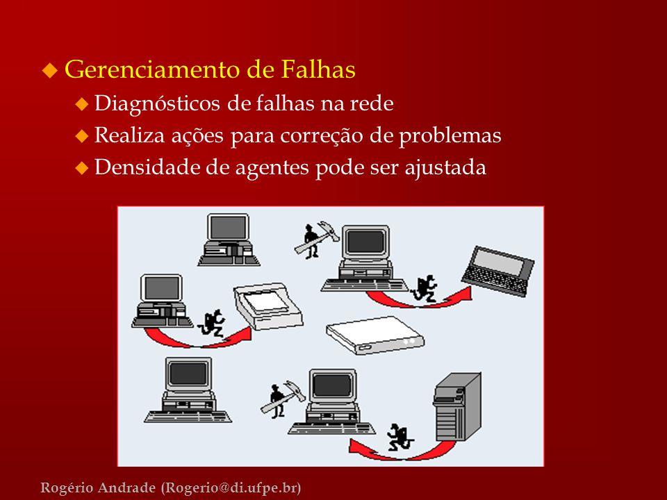 Rogério Andrade (Rogerio@di.ufpe.br) u Gerenciamento de Falhas u Diagnósticos de falhas na rede u Realiza ações para correção de problemas u Densidade