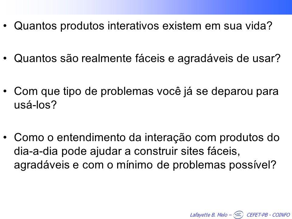 Lafayette B. Melo – CEFET-PB - COINFO Quantos produtos interativos existem em sua vida? Quantos são realmente fáceis e agradáveis de usar? Com que tip