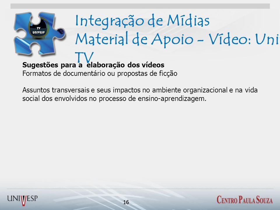 Integração de Mídias Material de Apoio - Vídeo: Univesp TV 16 Sugestões para a elaboração dos vídeos Formatos de documentário ou propostas de ficção A