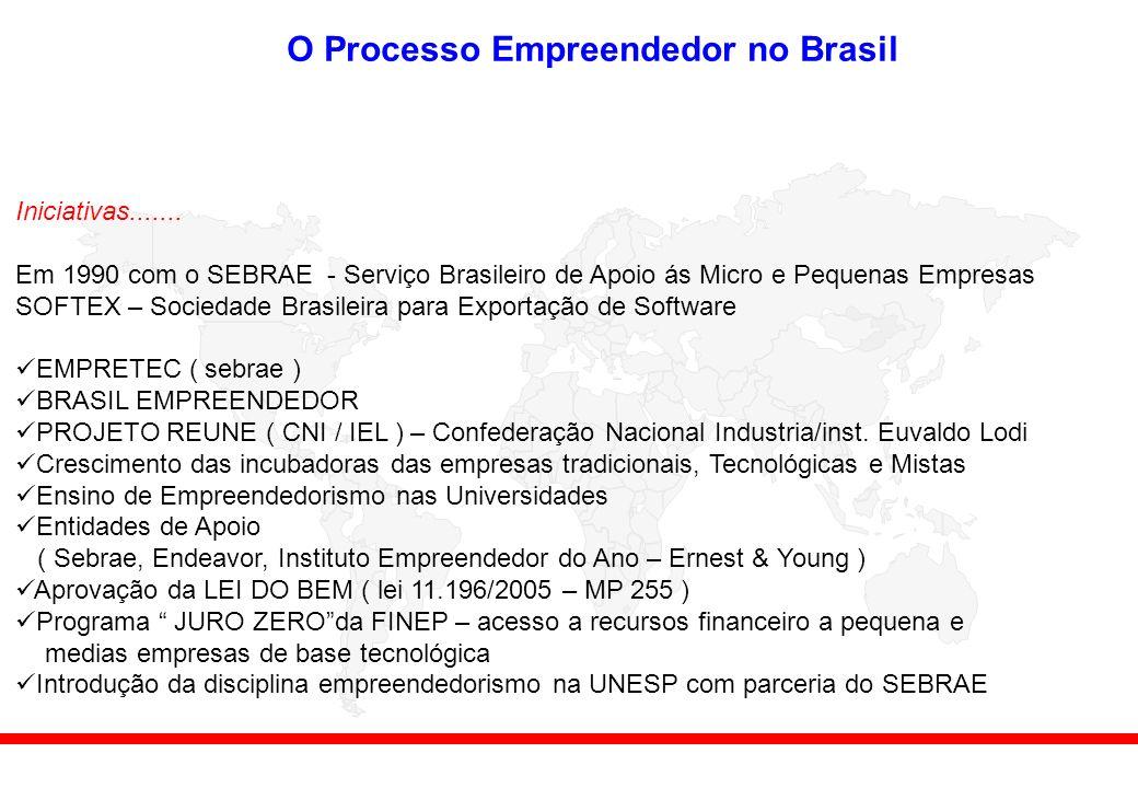 O Processo Empreendedor no Brasil Iniciativas.......