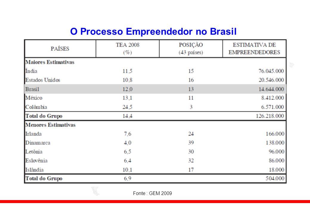 O Processo Empreendedor no Brasil Fonte : GEM 2009
