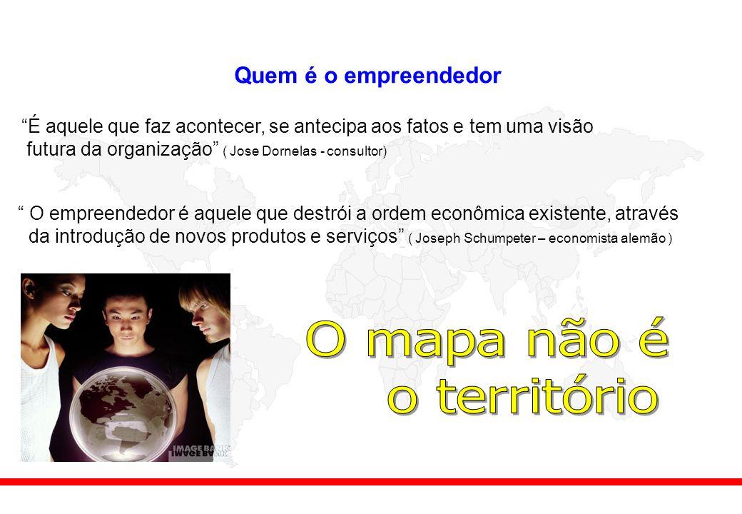 Quem é o empreendedor É aquele que faz acontecer, se antecipa aos fatos e tem uma visão futura da organização ( Jose Dornelas - consultor) O empreendedor é aquele que destrói a ordem econômica existente, através da introdução de novos produtos e serviços ( Joseph Schumpeter – economista alemão )