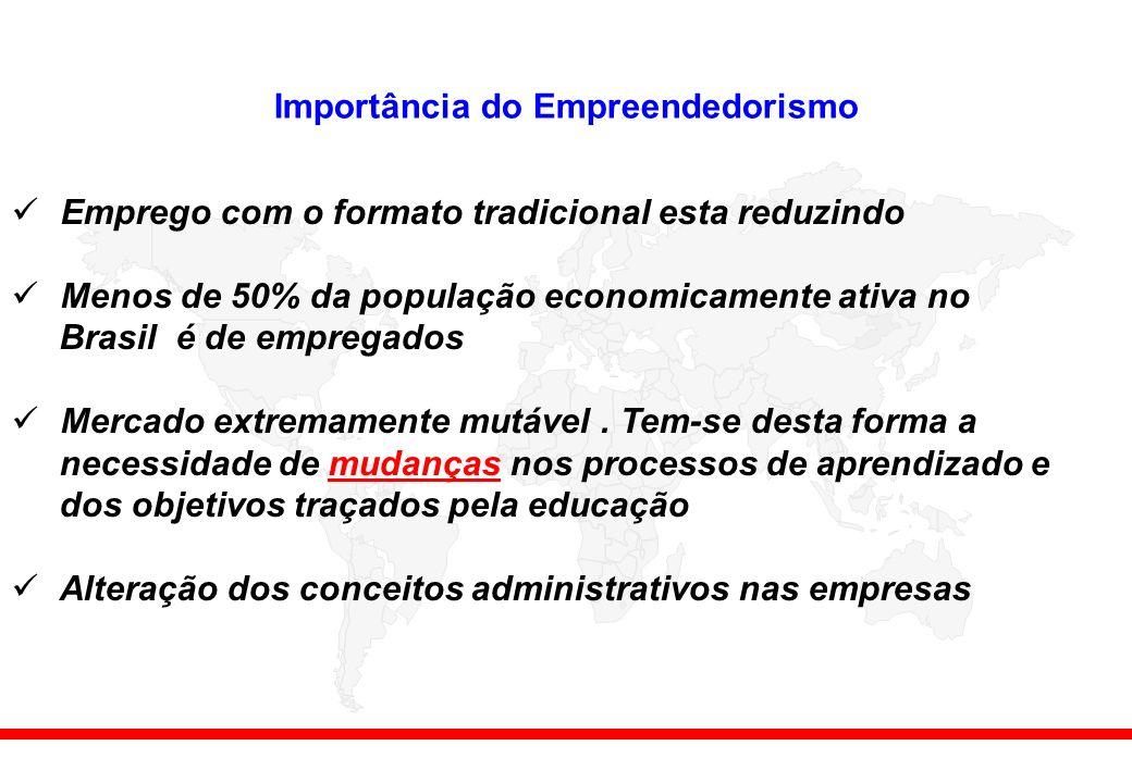 Importância do Empreendedorismo Emprego com o formato tradicional esta reduzindo Menos de 50% da população economicamente ativa no Brasil é de empregados Mercado extremamente mutável.