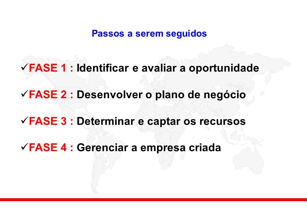 Passos a serem seguidos FASE 1 : Identificar e avaliar a oportunidade FASE 2 : Desenvolver o plano de negócio FASE 3 : Determinar e captar os recursos FASE 4 : Gerenciar a empresa criada