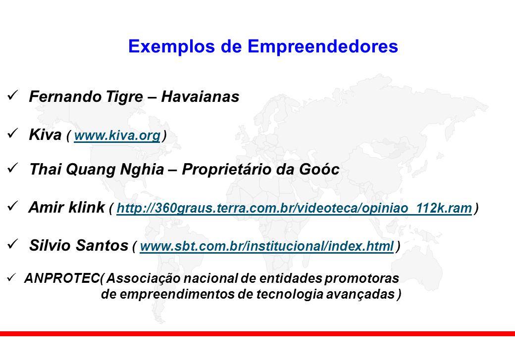 Exemplos de Empreendedores Fernando Tigre – Havaianas Kiva ( www.kiva.org )www.kiva.org Thai Quang Nghia – Proprietário da Goóc Amir klink ( http://360graus.terra.com.br/videoteca/opiniao_112k.ram )http://360graus.terra.com.br/videoteca/opiniao_112k.ram Silvio Santos ( www.sbt.com.br/institucional/index.html )www.sbt.com.br/institucional/index.html ANPROTEC( Associação nacional de entidades promotoras de empreendimentos de tecnologia avançadas )