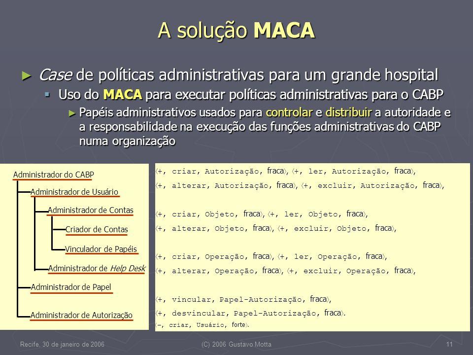 Recife, 30 de janeiro de 2006(C) 2006 Gustavo Motta11 A solução MACA Case de políticas administrativas para um grande hospital Case de políticas admin