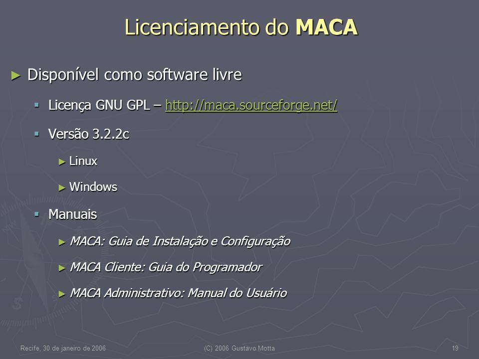 Recife, 30 de janeiro de 2006(C) 2006 Gustavo Motta19 Licenciamento do MACA Disponível como software livre Disponível como software livre Licença GNU