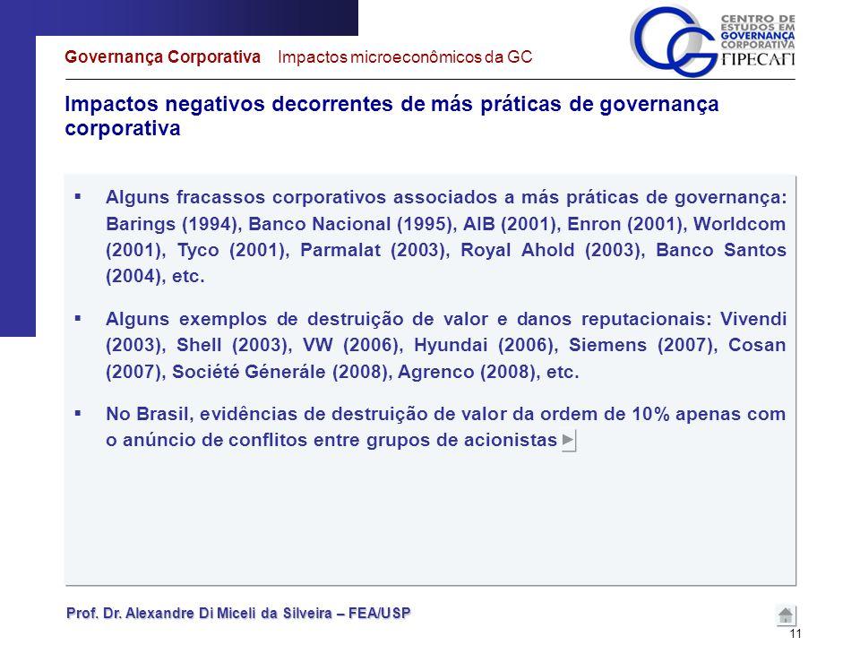 Prof. Dr. Alexandre Di Miceli da Silveira – FEA/USP 11 Impactos negativos decorrentes de más práticas de governança corporativa Governança Corporativa