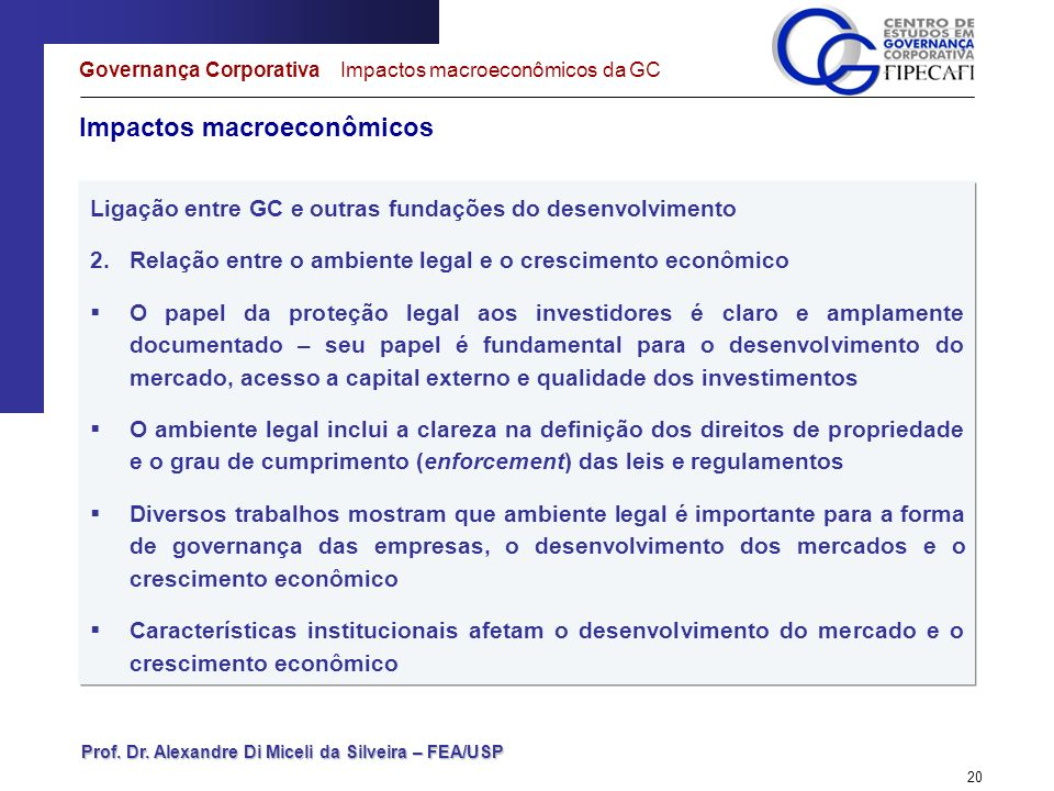 Prof. Dr. Alexandre Di Miceli da Silveira – FEA/USP 20 Impactos macroeconômicos Governança Corporativa Impactos macroeconômicos da GC Ligação entre GC