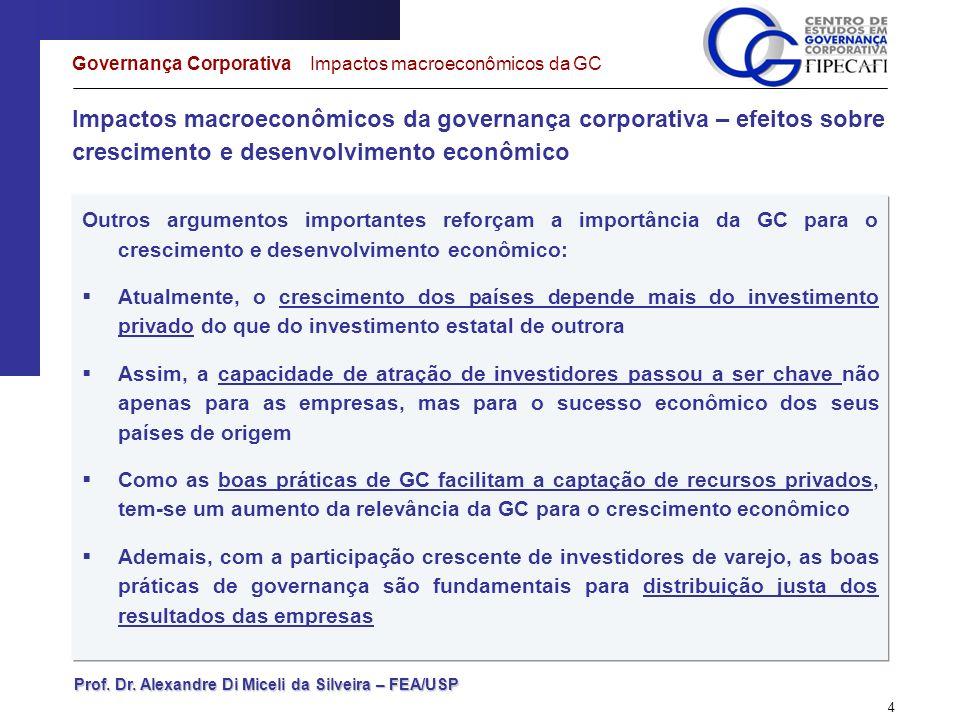 Prof. Dr. Alexandre Di Miceli da Silveira – FEA/USP 4 Impactos macroeconômicos da governança corporativa – efeitos sobre crescimento e desenvolvimento