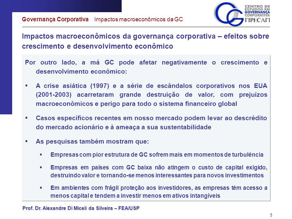 Prof. Dr. Alexandre Di Miceli da Silveira – FEA/USP 5 Impactos macroeconômicos da governança corporativa – efeitos sobre crescimento e desenvolvimento
