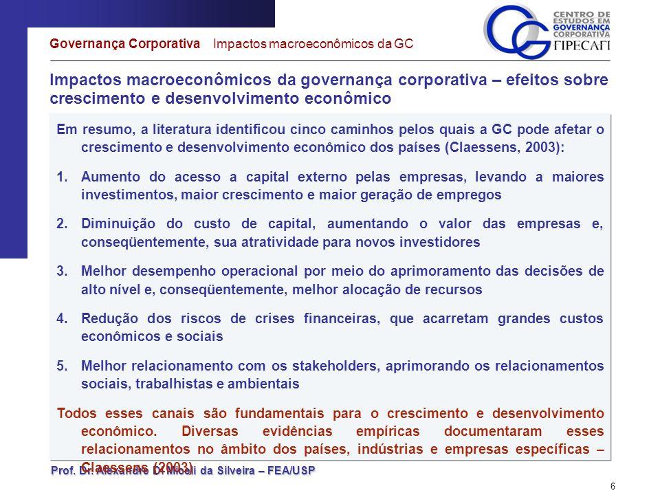 Prof. Dr. Alexandre Di Miceli da Silveira – FEA/USP 6 Impactos macroeconômicos da governança corporativa – efeitos sobre crescimento e desenvolvimento