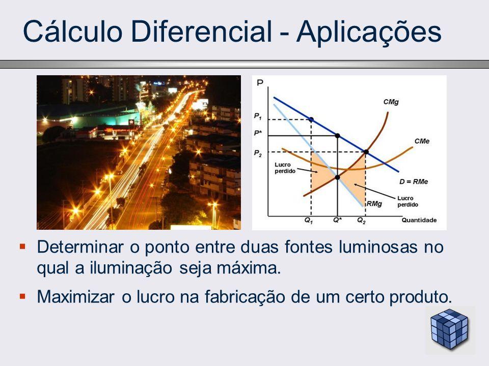 Cálculo Diferencial - Aplicações Determinar o ponto entre duas fontes luminosas no qual a iluminação seja máxima. Maximizar o lucro na fabricação de u