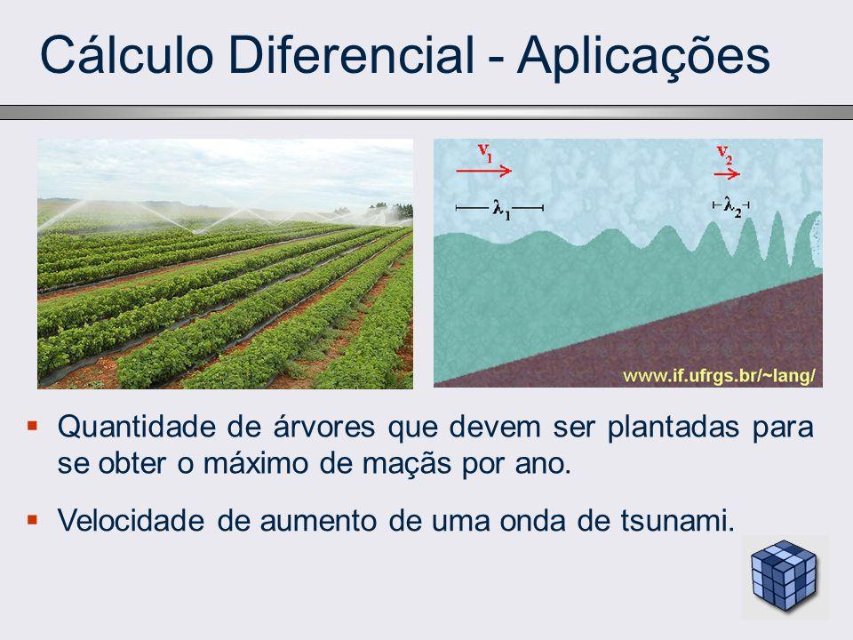 Cálculo Diferencial - Aplicações Quantidade de árvores que devem ser plantadas para se obter o máximo de maçãs por ano. Velocidade de aumento de uma o