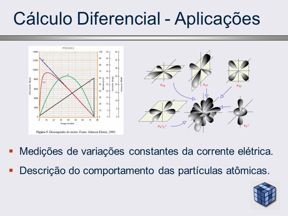 Cálculo Diferencial - Aplicações Medições de variações constantes da corrente elétrica. Descrição do comportamento das partículas atômicas.