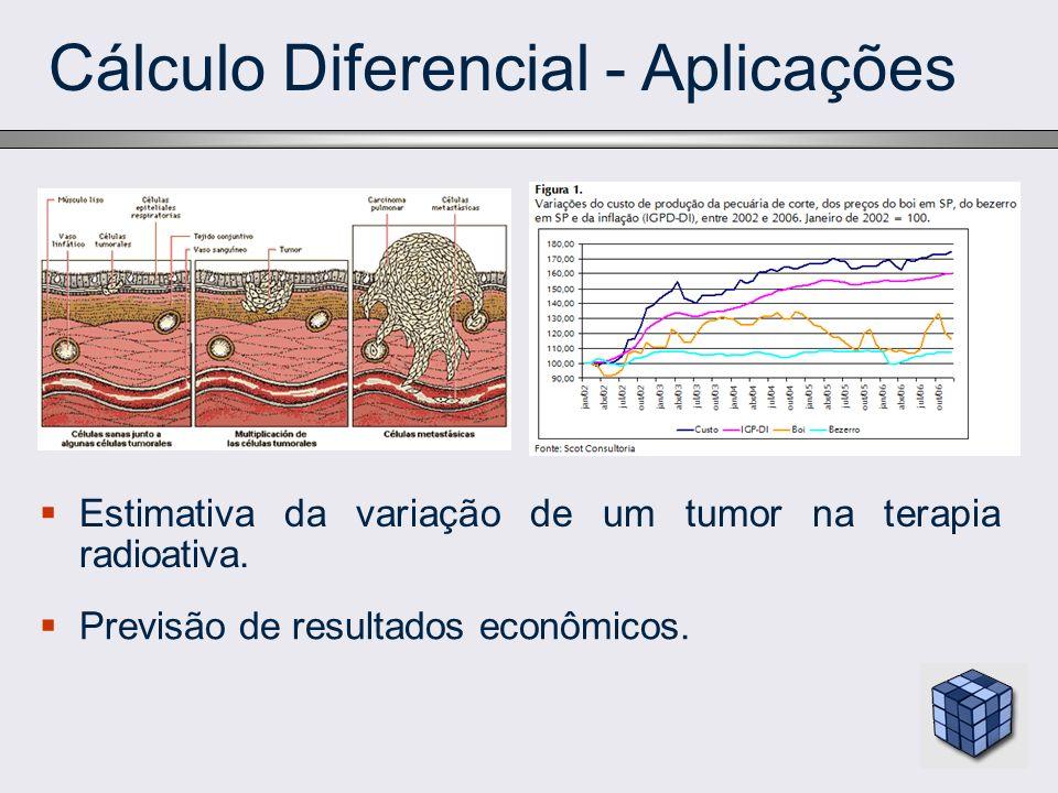 Cálculo Diferencial - Aplicações Estimativa da variação de um tumor na terapia radioativa. Previsão de resultados econômicos.