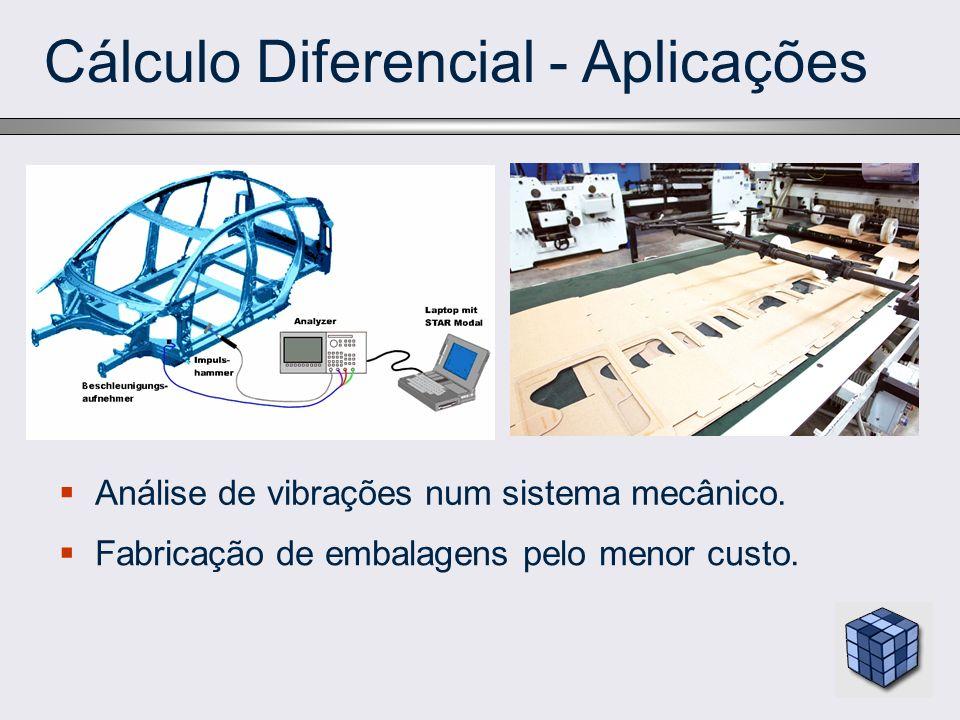 Cálculo Diferencial - Aplicações Análise de vibrações num sistema mecânico. Fabricação de embalagens pelo menor custo.