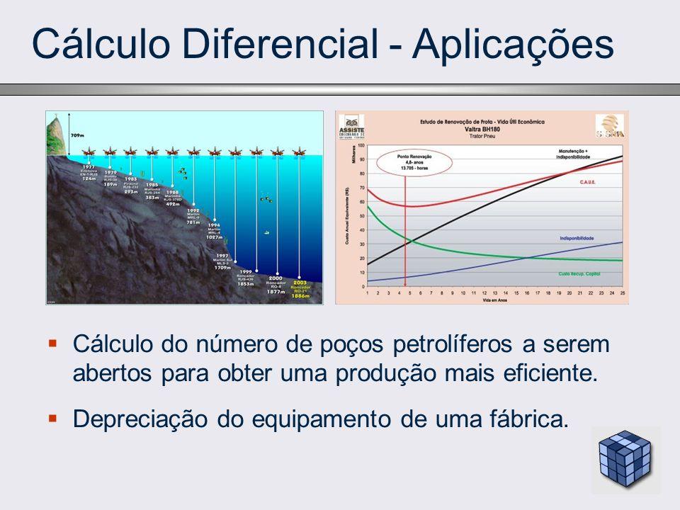 Cálculo Diferencial - Aplicações Cálculo do número de poços petrolíferos a serem abertos para obter uma produção mais eficiente. Depreciação do equipa