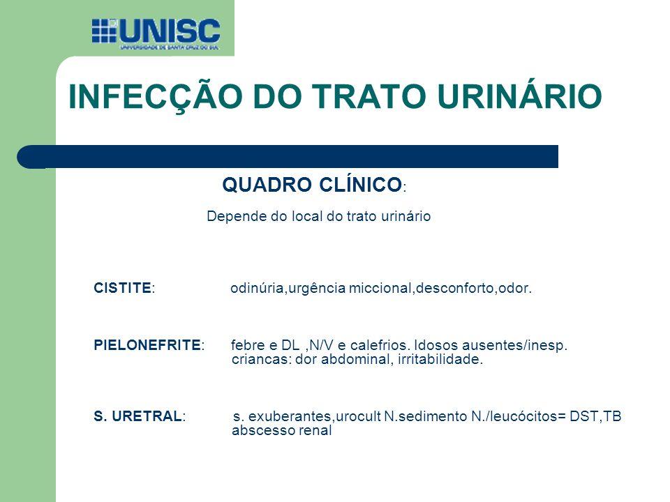 INFECÇÃO DO TRATO URINÁRIO QUADRO CLÍNICO : Depende do local do trato urinário CISTITE: odinúria,urgência miccional,desconforto,odor. PIELONEFRITE: fe