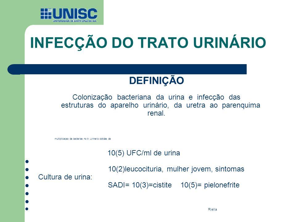 DEFINIÇÃO Colonização bacteriana da urina e infecção das estruturas do aparelho urinário, da uretra ao parenquima renal. multiplicacao de bacterias no