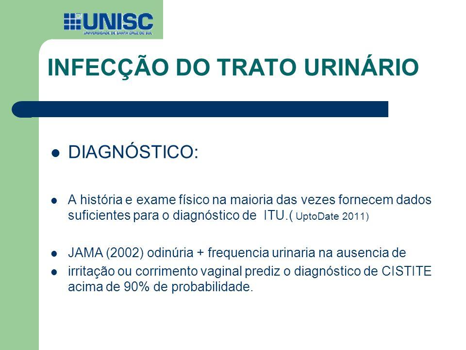 INFECÇÃO DO TRATO URINÁRIO DIAGNÓSTICO: A história e exame físico na maioria das vezes fornecem dados suficientes para o diagnóstico de ITU.( UptoDate