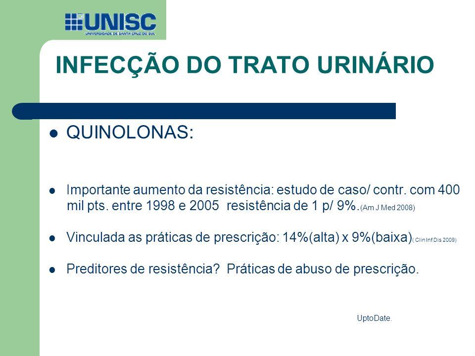 INFECÇÃO DO TRATO URINÁRIO QUINOLONAS: Importante aumento da resistência: estudo de caso/ contr. com 400 mil pts. entre 1998 e 2005 resistência de 1 p