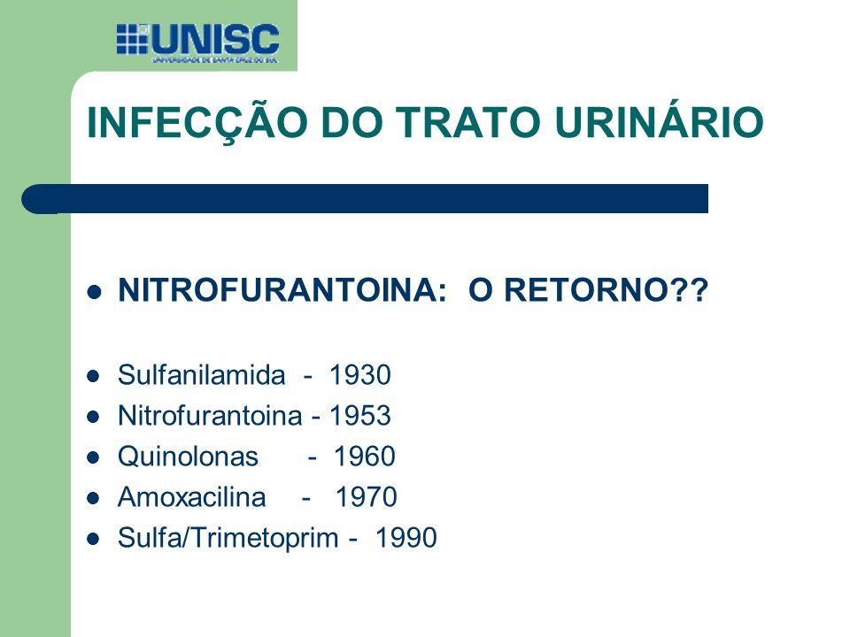 INFECÇÃO DO TRATO URINÁRIO NITROFURANTOINA: O RETORNO?? Sulfanilamida - 1930 Nitrofurantoina - 1953 Quinolonas - 1960 Amoxacilina - 1970 Sulfa/Trimeto