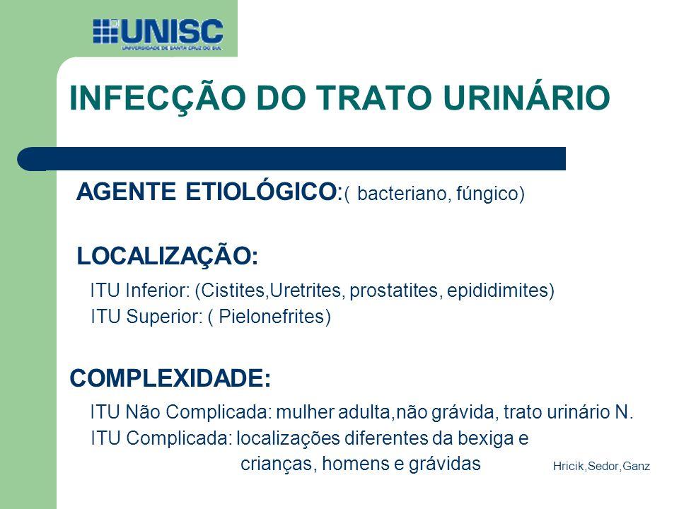 INFECÇÃO DO TRATO URINÁRIO AGENTE ETIOLÓGICO: ( bacteriano, fúngico) LOCALIZAÇÃO: ITU Inferior: (Cistites,Uretrites, prostatites, epididimites) ITU Su