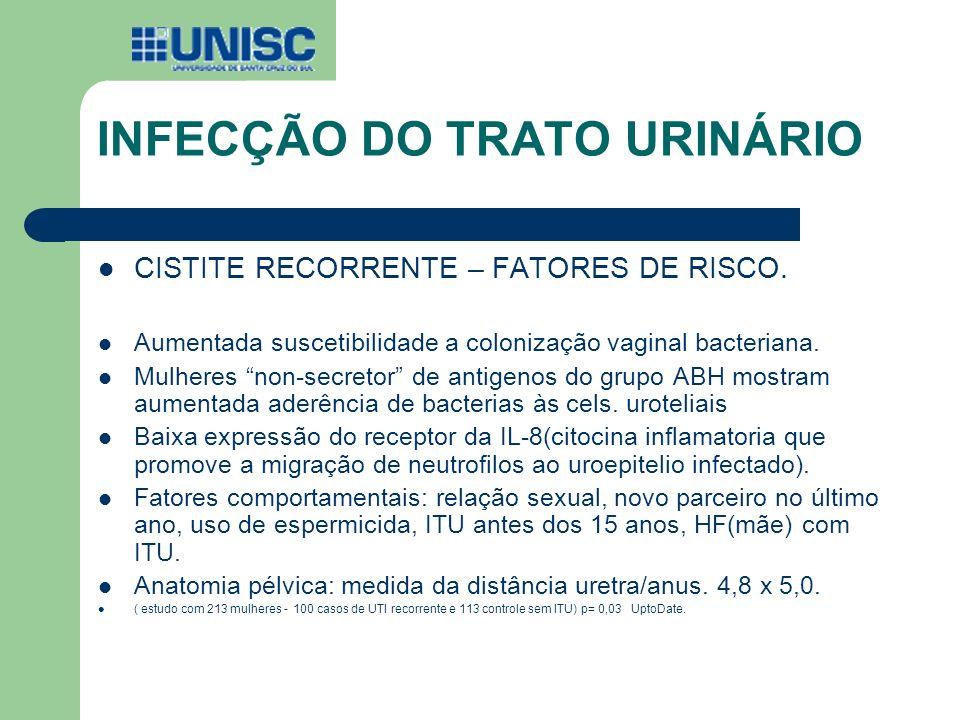 INFECÇÃO DO TRATO URINÁRIO CISTITE RECORRENTE – FATORES DE RISCO. Aumentada suscetibilidade a colonização vaginal bacteriana. Mulheres non-secretor de