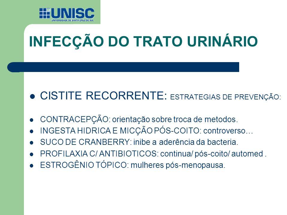 INFECÇÃO DO TRATO URINÁRIO CISTITE RECORRENTE: ESTRATEGIAS DE PREVENÇÃO: CONTRACEPÇÃO: orientação sobre troca de metodos. INGESTA HIDRICA E MICÇÃO PÓS