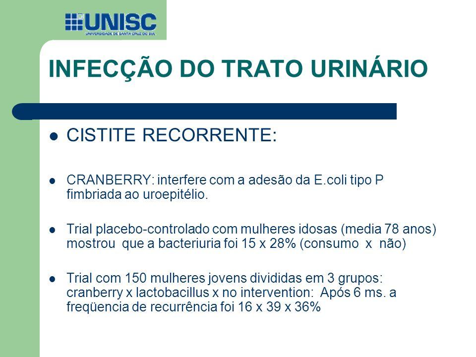 CISTITE RECORRENTE: CRANBERRY: interfere com a adesão da E.coli tipo P fimbriada ao uroepitélio. Trial placebo-controlado com mulheres idosas (media 7