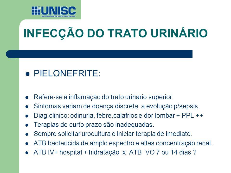 INFECÇÃO DO TRATO URINÁRIO PIELONEFRITE: Refere-se a inflamação do trato urinario superior. Sintomas variam de doença discreta a evolução p/sepsis. Di