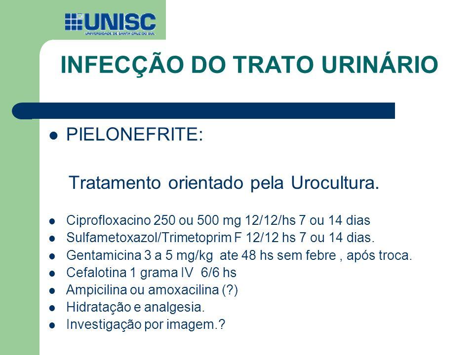 INFECÇÃO DO TRATO URINÁRIO PIELONEFRITE: Tratamento orientado pela Urocultura. Ciprofloxacino 250 ou 500 mg 12/12/hs 7 ou 14 dias Sulfametoxazol/Trime
