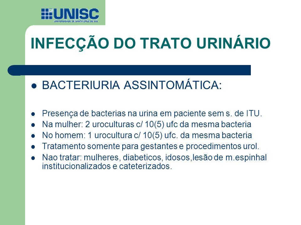 INFECÇÃO DO TRATO URINÁRIO BACTERIURIA ASSINTOMÁTICA: Presença de bacterias na urina em paciente sem s. de ITU. Na mulher: 2 uroculturas c/ 10(5) ufc