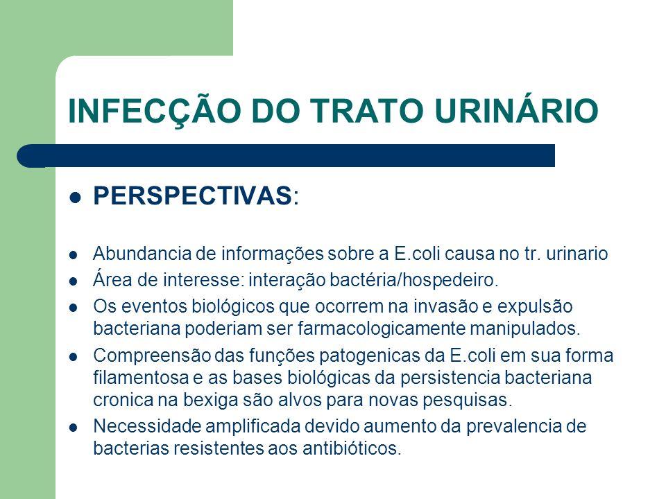 INFECÇÃO DO TRATO URINÁRIO PERSPECTIVAS: Abundancia de informações sobre a E.coli causa no tr. urinario Área de interesse: interação bactéria/hospedei