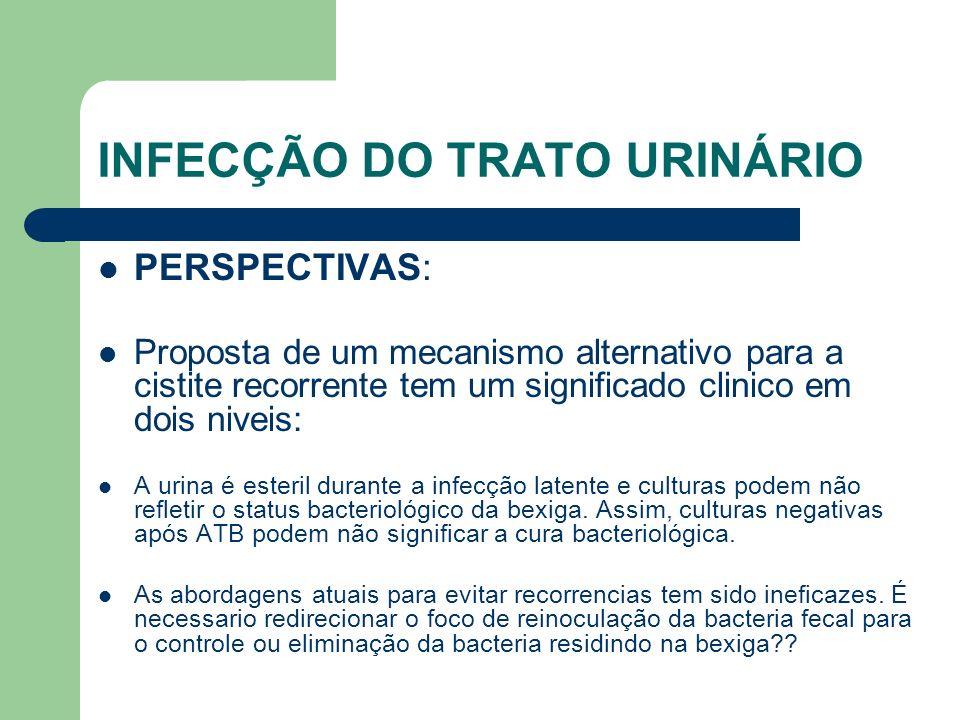 INFECÇÃO DO TRATO URINÁRIO PERSPECTIVAS: Proposta de um mecanismo alternativo para a cistite recorrente tem um significado clinico em dois niveis: A u