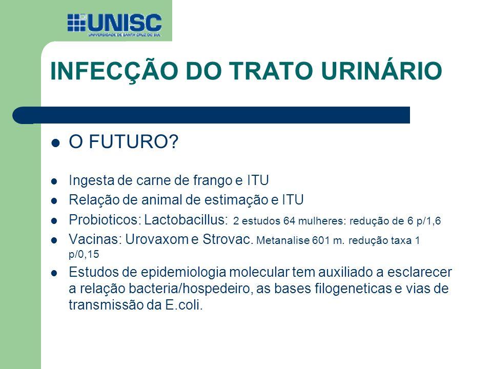 O FUTURO? Ingesta de carne de frango e ITU Relação de animal de estimação e ITU Probioticos: Lactobacillus: 2 estudos 64 mulheres: redução de 6 p/1,6