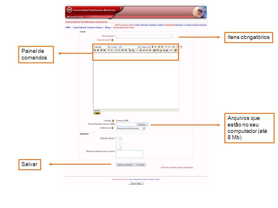 Arquivos que estão no seu computador (até 8 Mb) Painel de comandos Itens obrigatóriosSalvar
