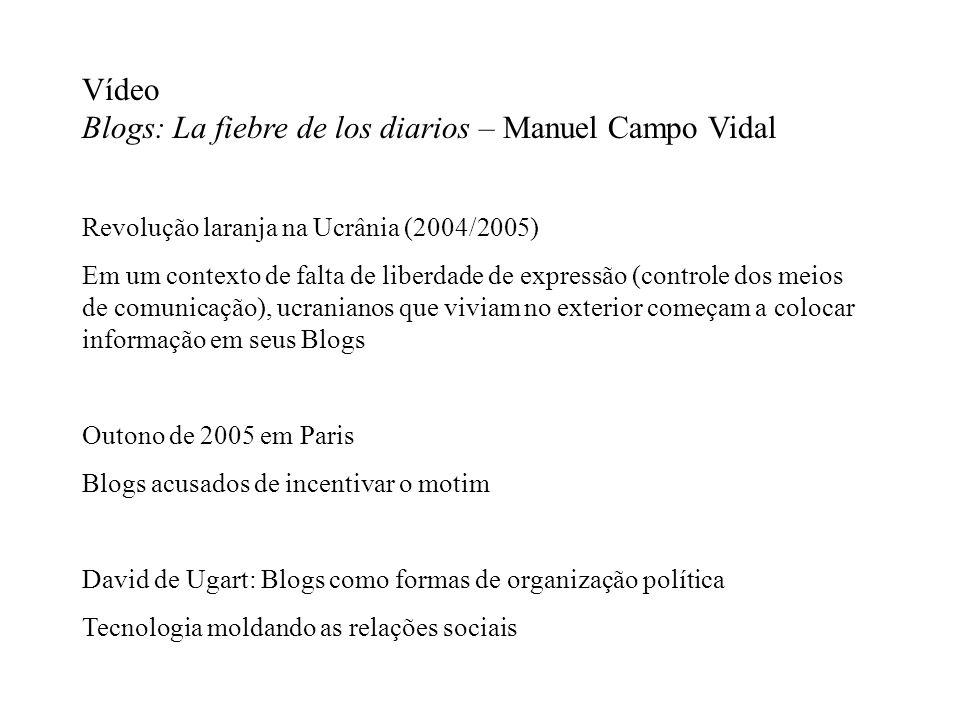 Vídeo Blogs: La fiebre de los diarios – Manuel Campo Vidal Revolução laranja na Ucrânia (2004/2005) Em um contexto de falta de liberdade de expressão