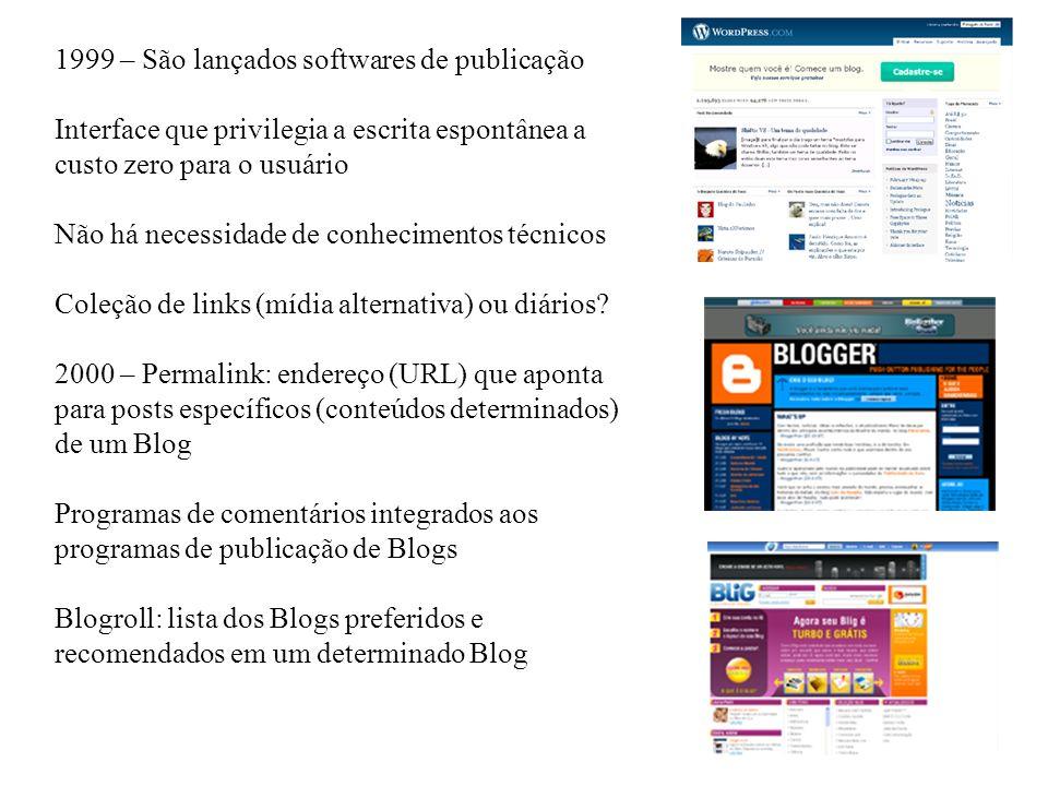 1999 – São lançados softwares de publicação Interface que privilegia a escrita espontânea a custo zero para o usuário Não há necessidade de conhecimentos técnicos Coleção de links (mídia alternativa) ou diários.