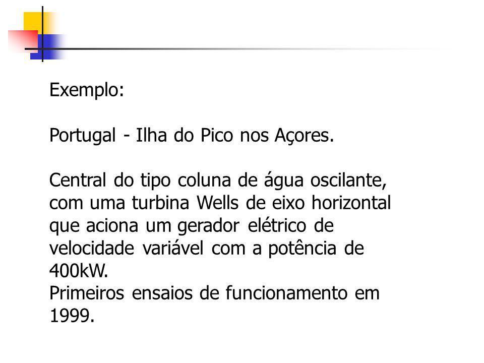 Exemplo: Portugal - Ilha do Pico nos Açores. Central do tipo coluna de água oscilante, com uma turbina Wells de eixo horizontal que aciona um gerador
