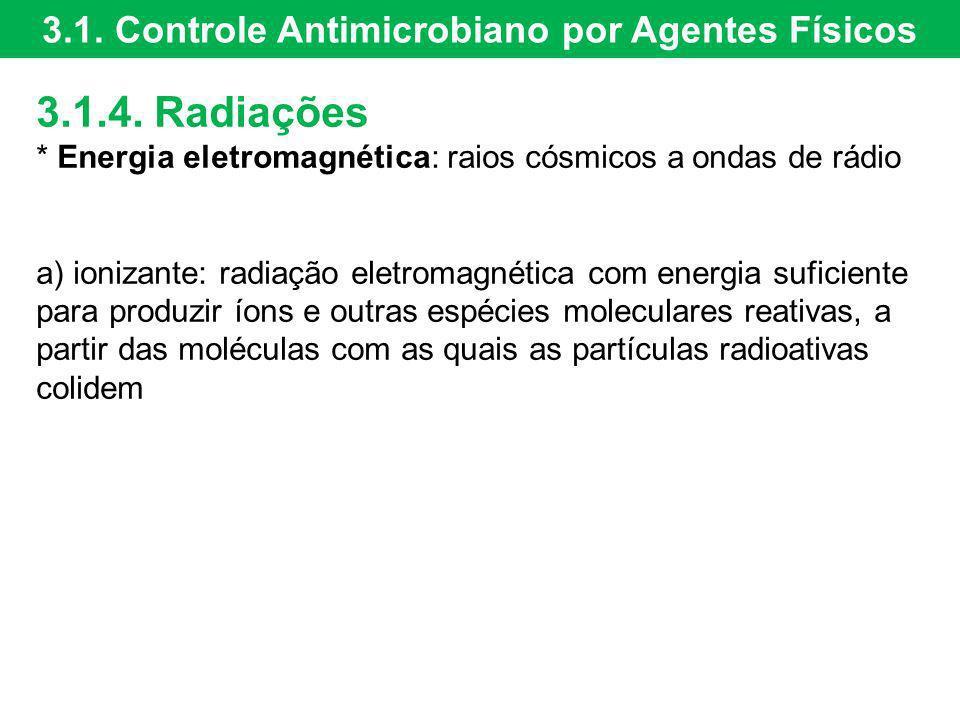 3.1.4. Radiações * Energia eletromagnética: raios cósmicos a ondas de rádio a) ionizante: radiação eletromagnética com energia suficiente para produzi