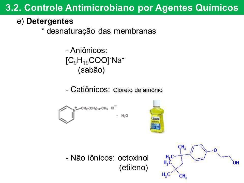 3.2. Controle Antimicrobiano por Agentes Químicos e) Detergentes * desnaturação das membranas - Aniônicos: [C 9 H 19 COO] - Na + (sabão) Cloreto de am