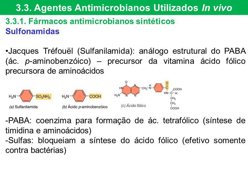 3.3.1. Fármacos antimicrobianos sintéticos Sulfonamidas Jacques Tréfouël (Sulfanilamida): análogo estrutural do PABA (ác. p-aminobenzóico) – precursor